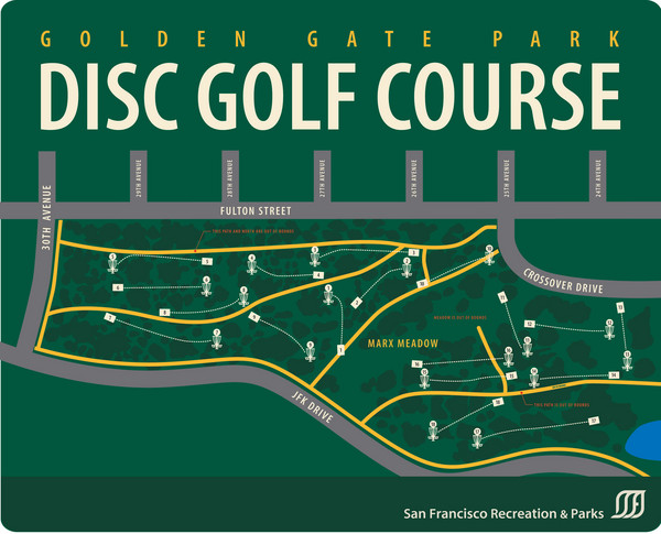 Golden Gate Park Disc Golf Course Map Golden Gate Park San
