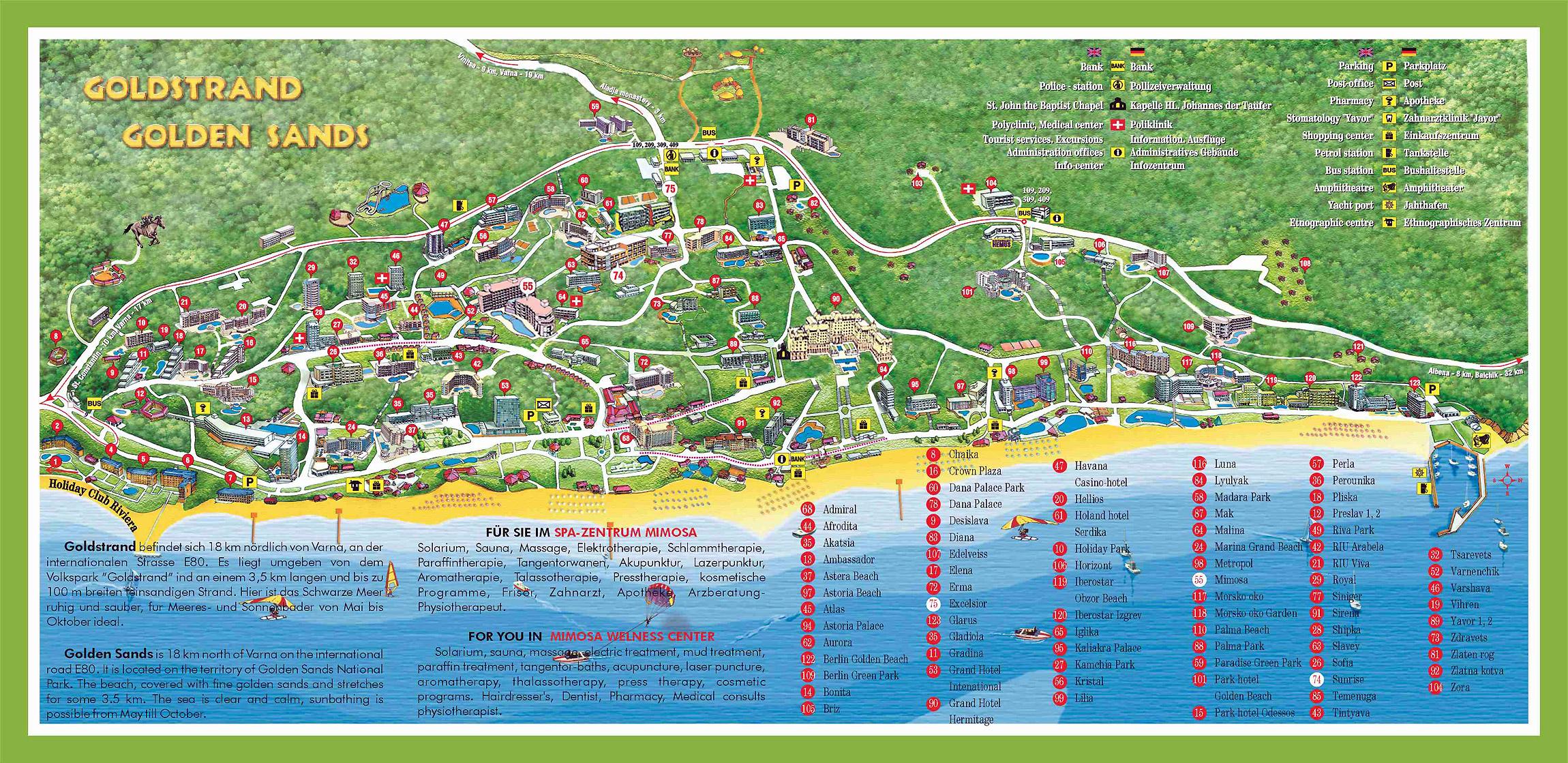 Golden Sands Varna Tourist Map Varna Mappery - Varna map