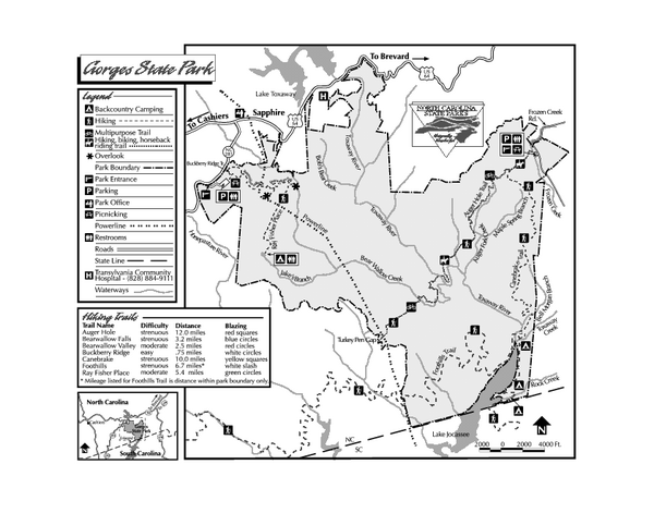 State Park Nc Map.Gorges State Park Map Sapphire North Carolina 28774 Mappery