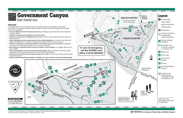 Government Canyon, Texas State Park Facility and Trail Map
