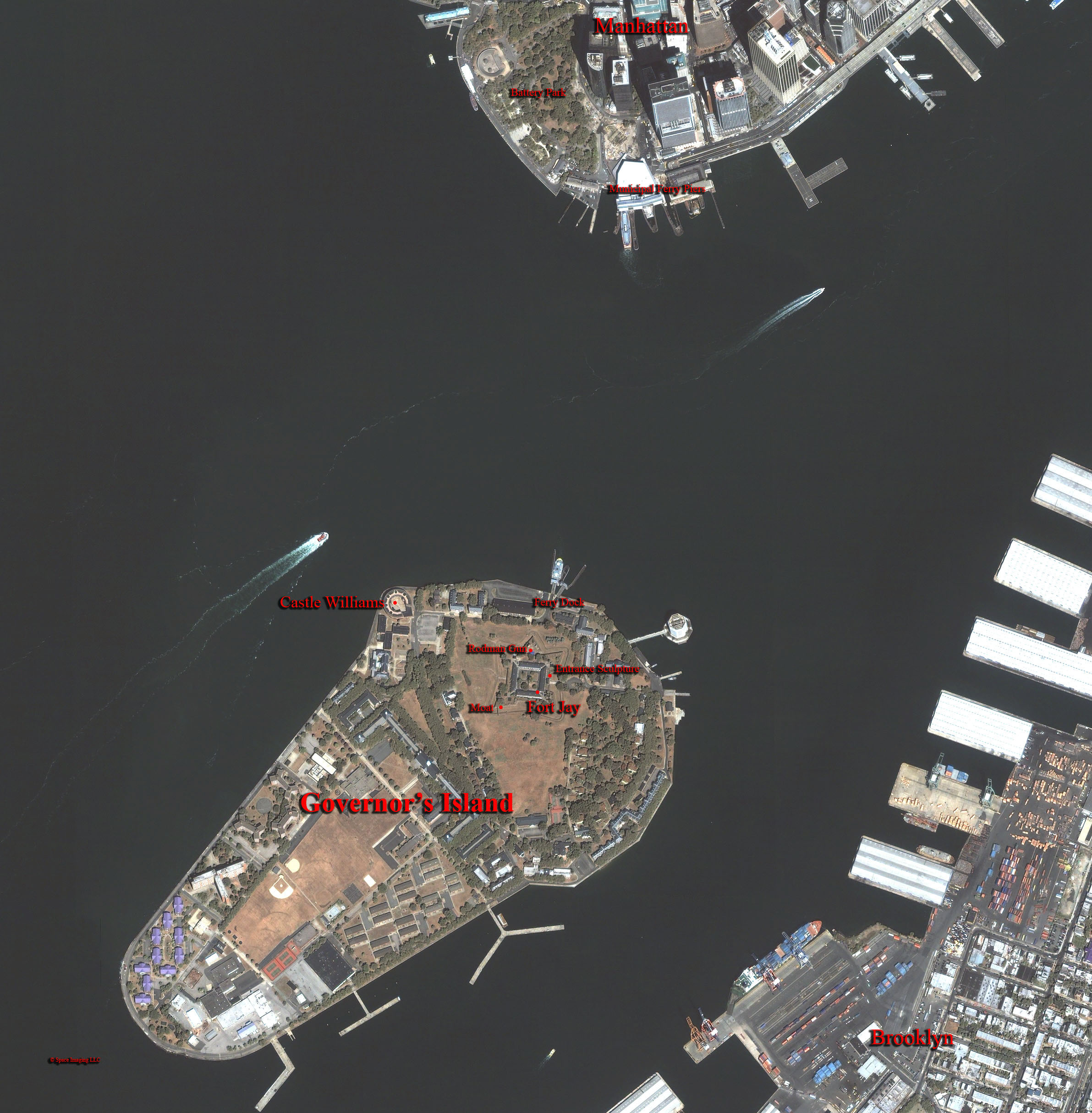 Manhattan Island Acres Governors Island is a 172 Acre