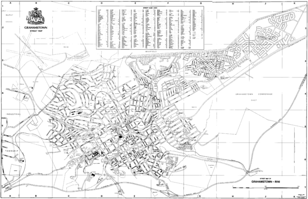 Grahamstown Street Map   Grahamstown South Africa • mappery