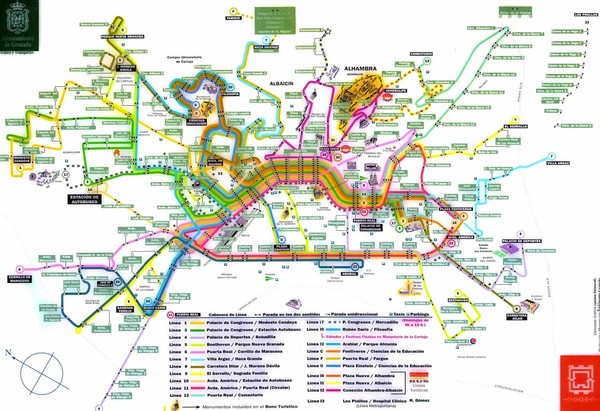 Granada Bus Routes Map Albaicin mappery