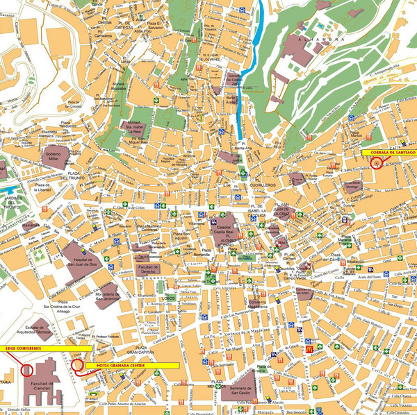 Granada Tourist Map Granada Spain mappery