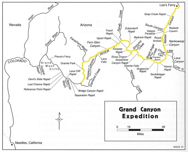 Grand Canyon River Expedition Map Grand Canyon National Park Az - Grand-canyon-on-a-us-map