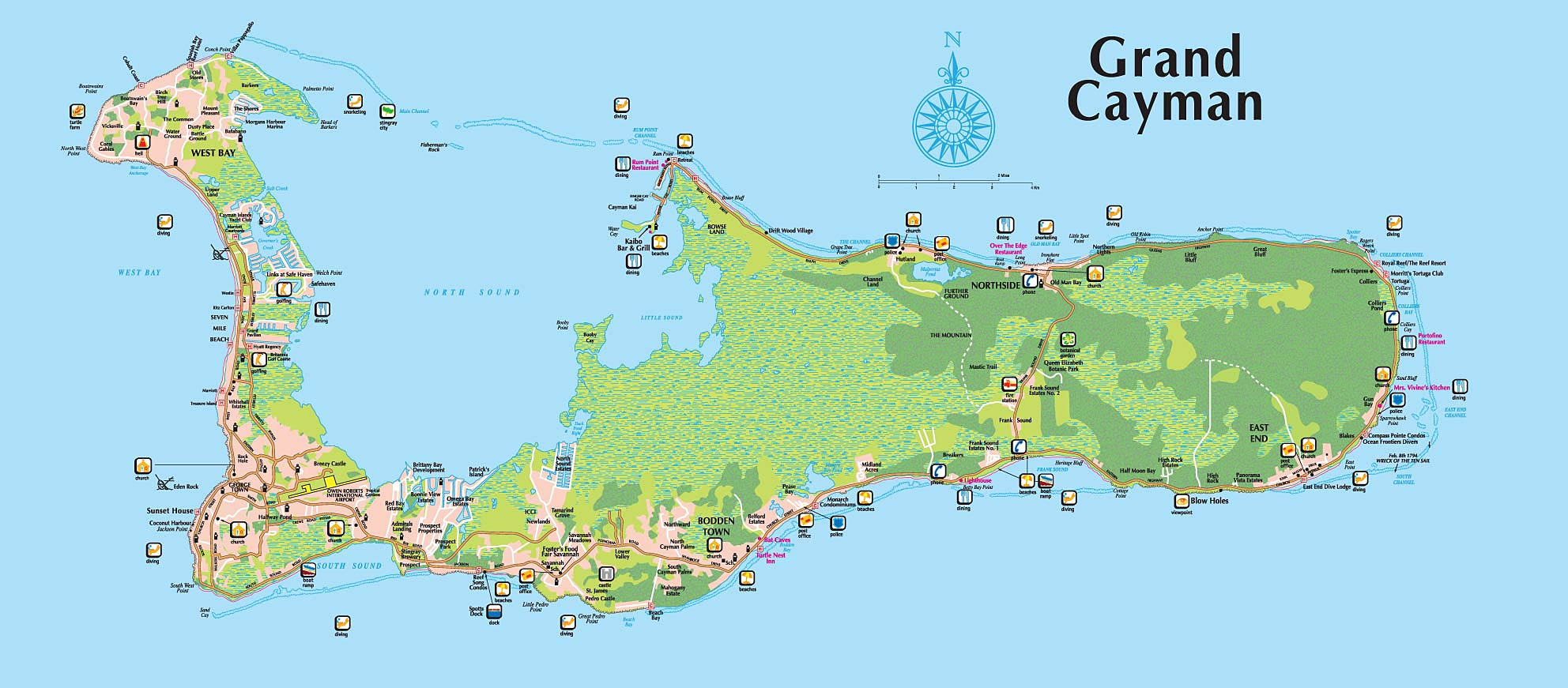 Grand Cayman Tourist Map  mappery