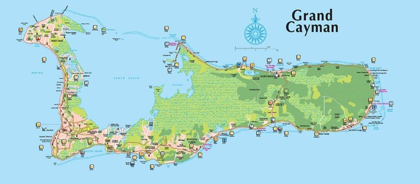 Grand Cayman Tourist Map