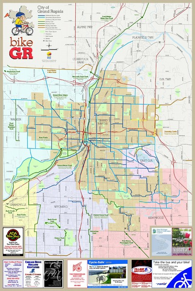 Bikes Grand Rapids Mi Fullsize Grand Rapids Bike Map