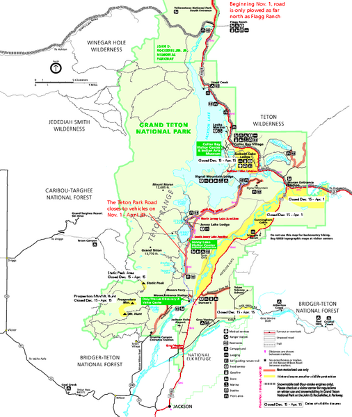 Grand Teton National Park Map Winter Grand Teton National Park
