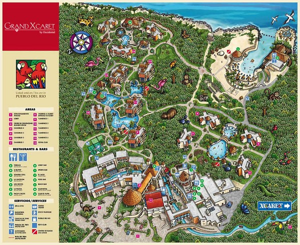 Grand Xcaret Tourist Map Playa del Carmen mappery