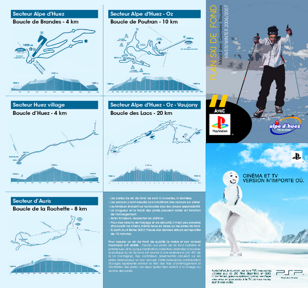 Grands Rousses (L'alpe d'Huez) Nordic Ski Trail Map