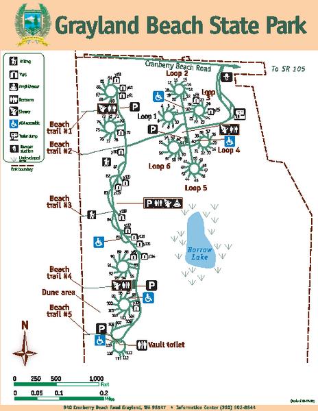 Camping Washington State Map.Grayland Beach State Park Map 940 Cranberry Beach Rd Grayland Wa