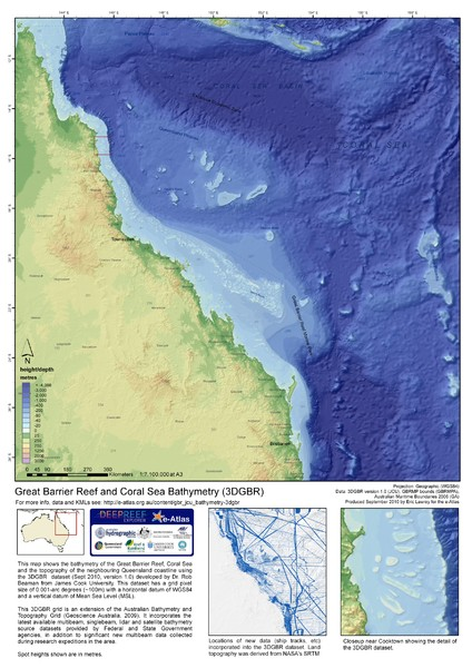Great Barrier Reef and Coral Sea Bathymetry Map