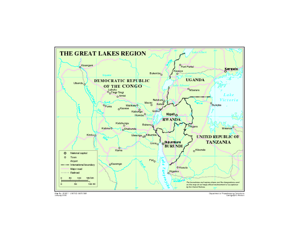 Great Lakes Region In Africa. Great Lakes region map