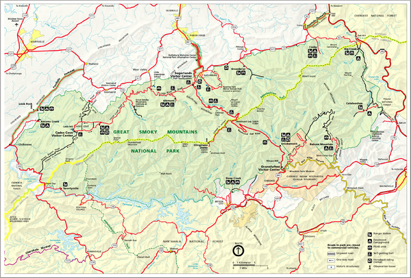 Great Smokey Mountains National Park Trail Map: Smoky Mountain National Park Hiking Map At Slyspyder.com