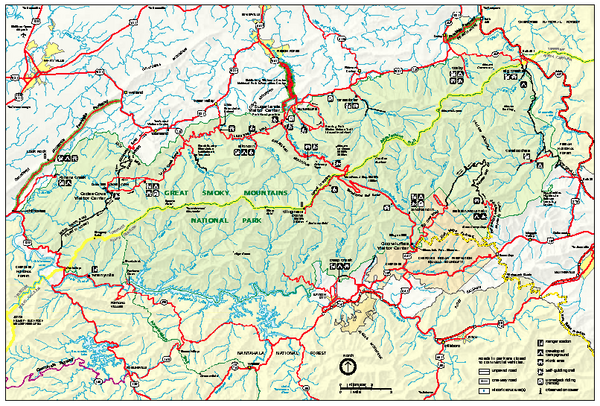 Great Smoky Mountains National Park - Park map - Great Smoky ...