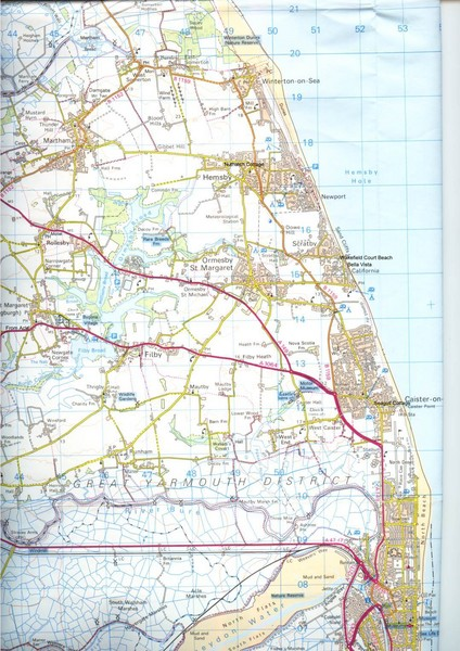 Great Yarmouth District England Map