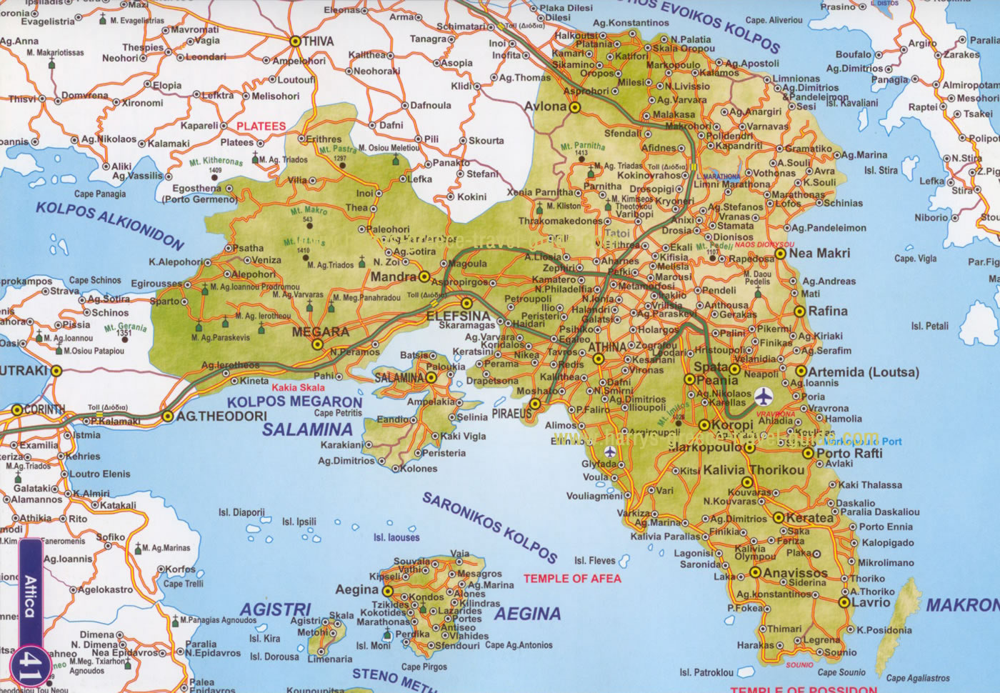 Greater Athens Map Athens Mappery