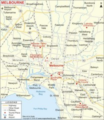 Greater Melbourne, Australia Region Map