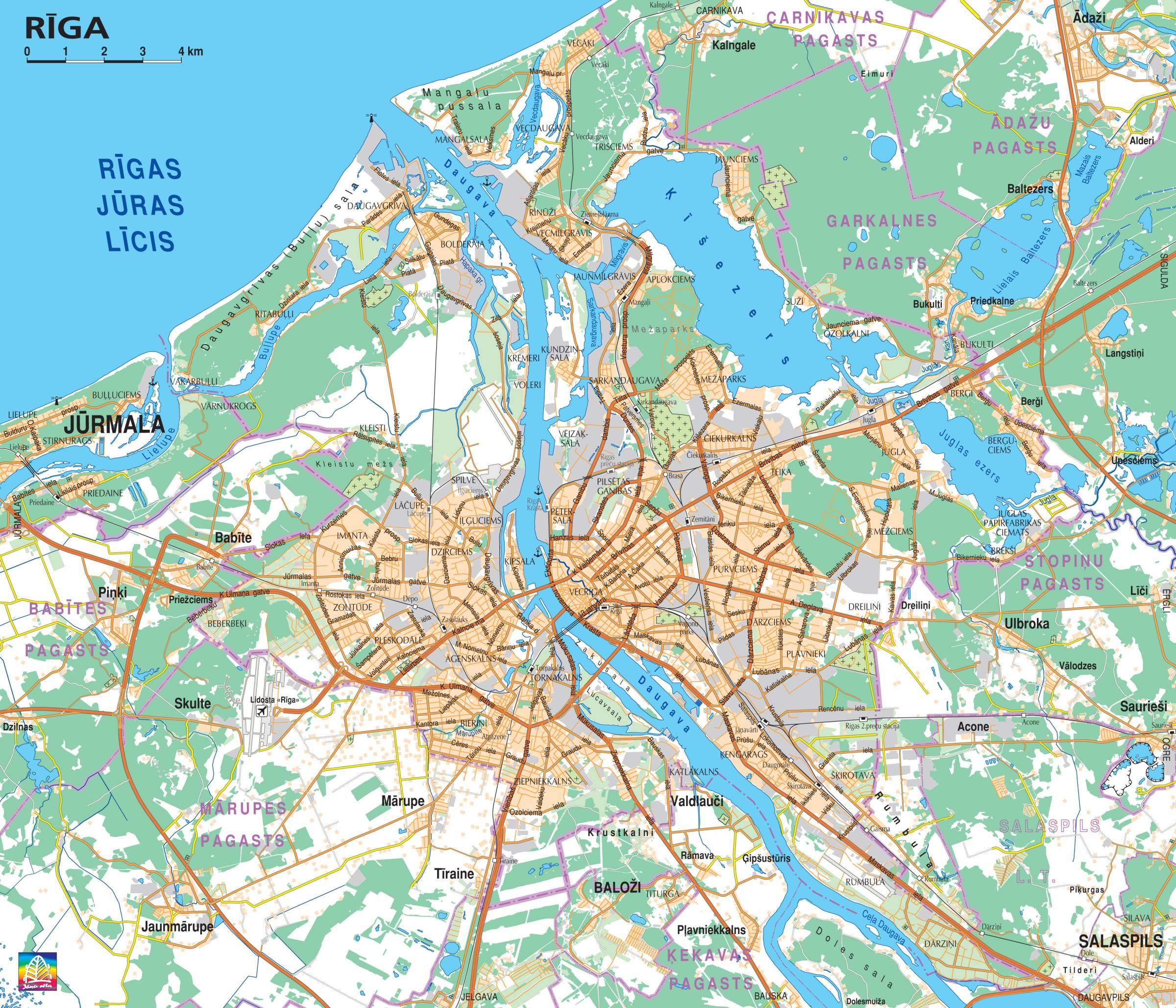 Greater Riga Map Riga Latvia mappery