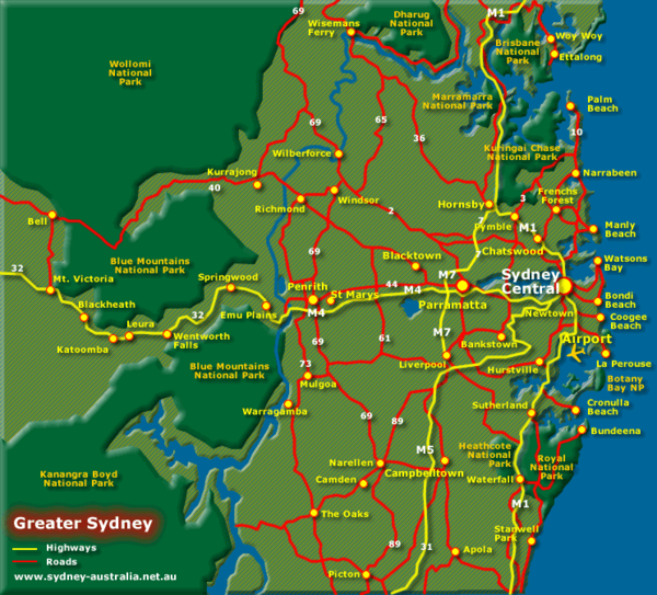 Tourist Map Of Australia With Cities.Greater Sydney Australia Tourist Map Sydney Australia Mappery
