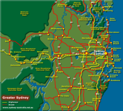 Greater Sydney, Australia Tourist Map