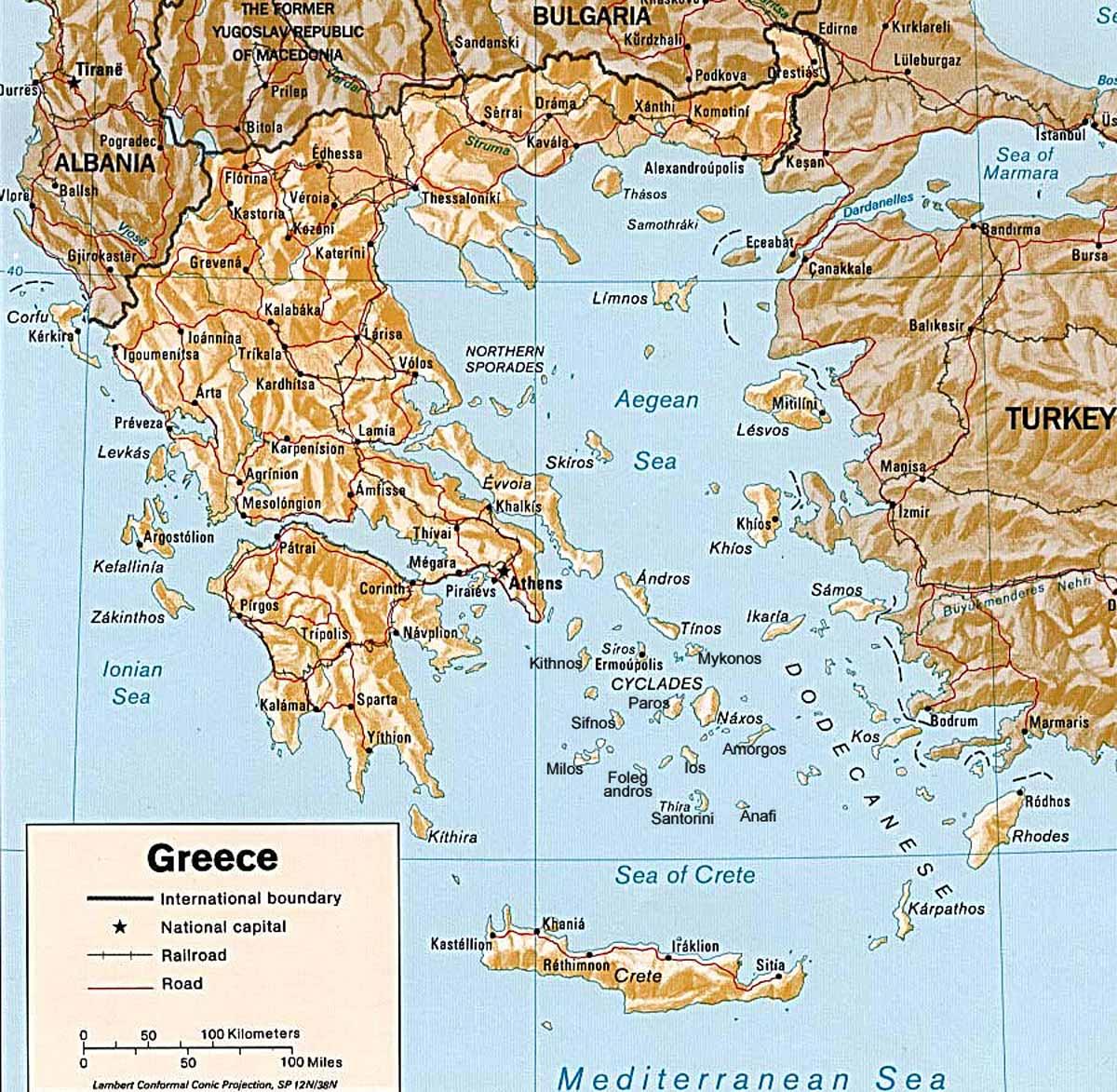 Greece Map Greece mappery