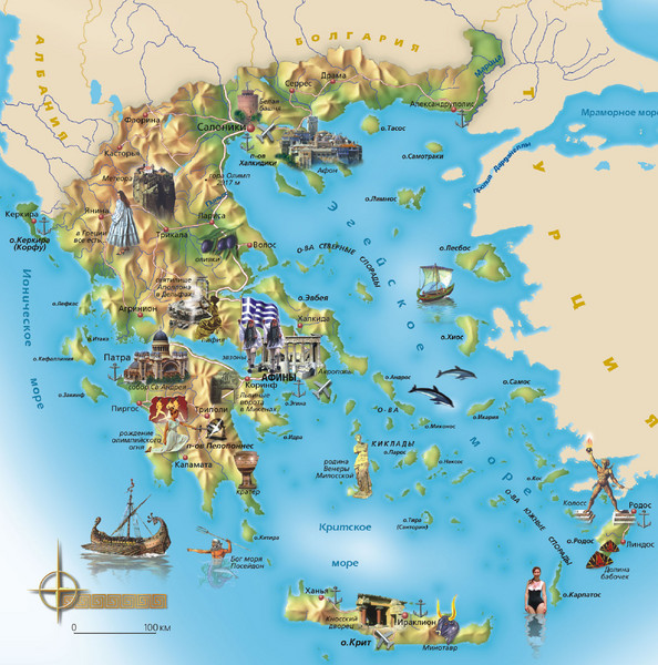 Greece Tourist Map Greece mappery