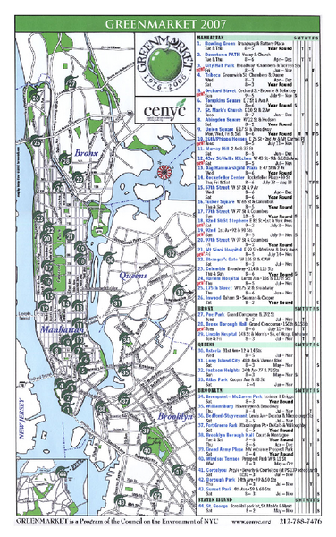 Green Markets in NYC Map
