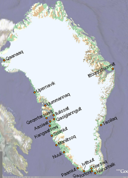 Greenland City Names Map Greenland mappery