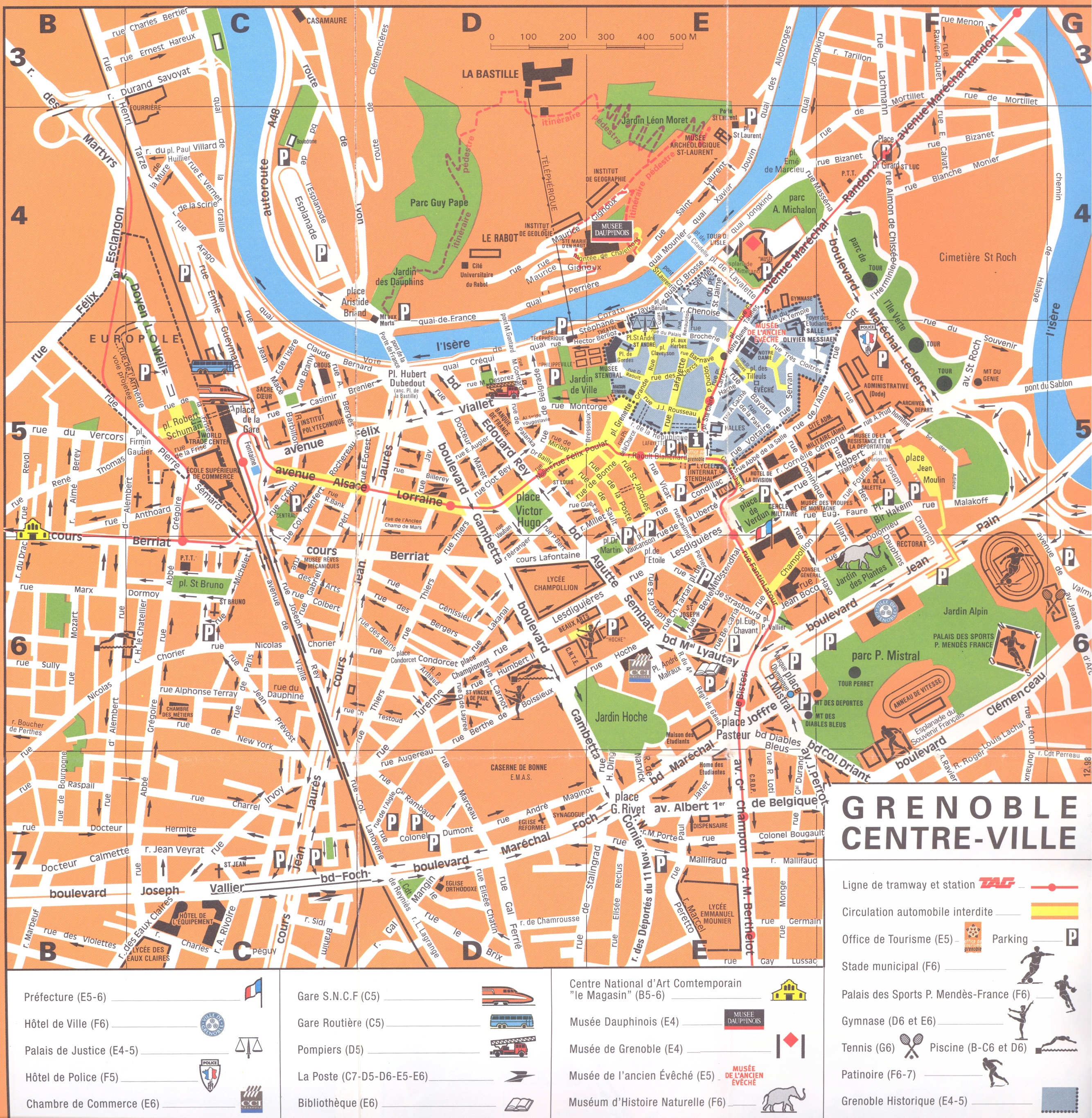 Grenoble centre-ville Map - Grenoble France • mappery