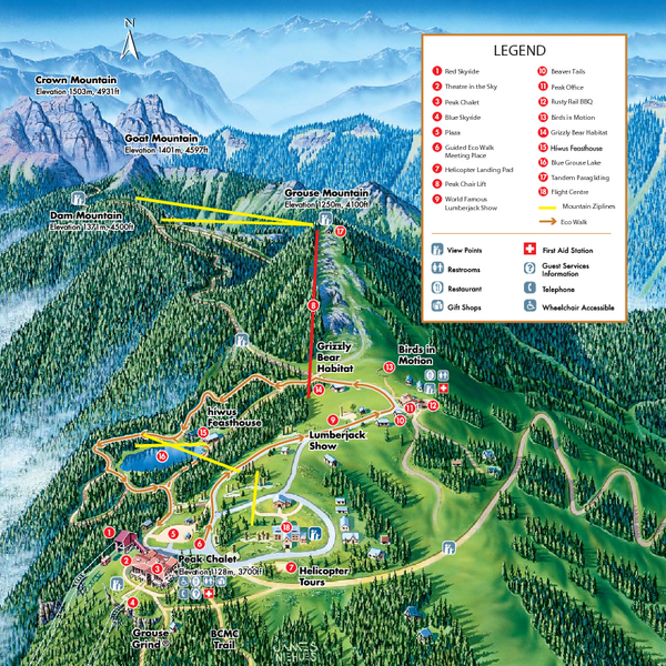 Grouse mountain summer trail map north vancouver canada mappery fullsize grouse mountain summer trail map gumiabroncs Images