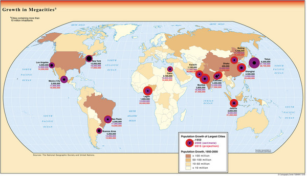 Growth of Megacities Map - World • mappery