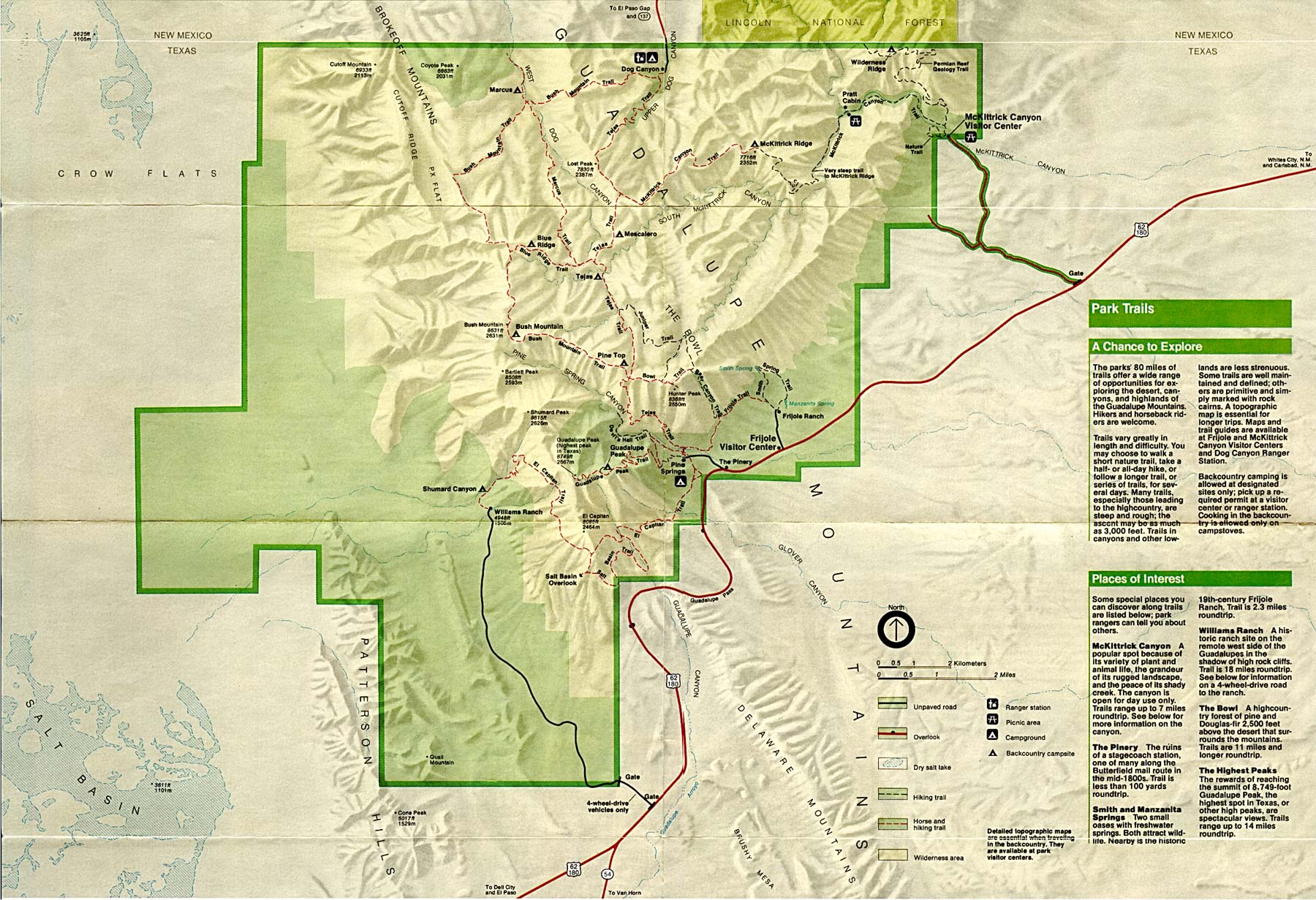 Guadalupe Mountains National Park Map Guadalupe Mountains National