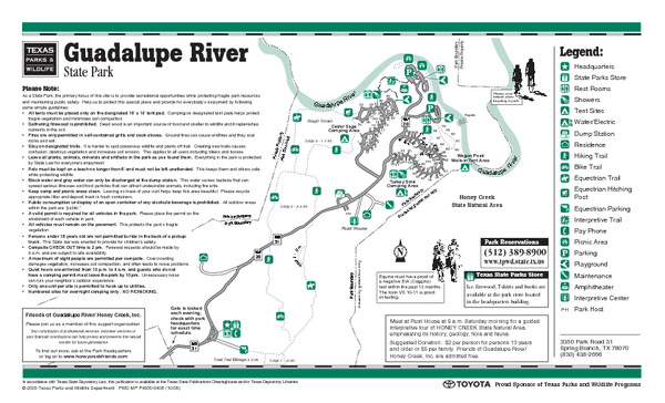 Guadalupe River, Texas State Park Facility and Trail Map
