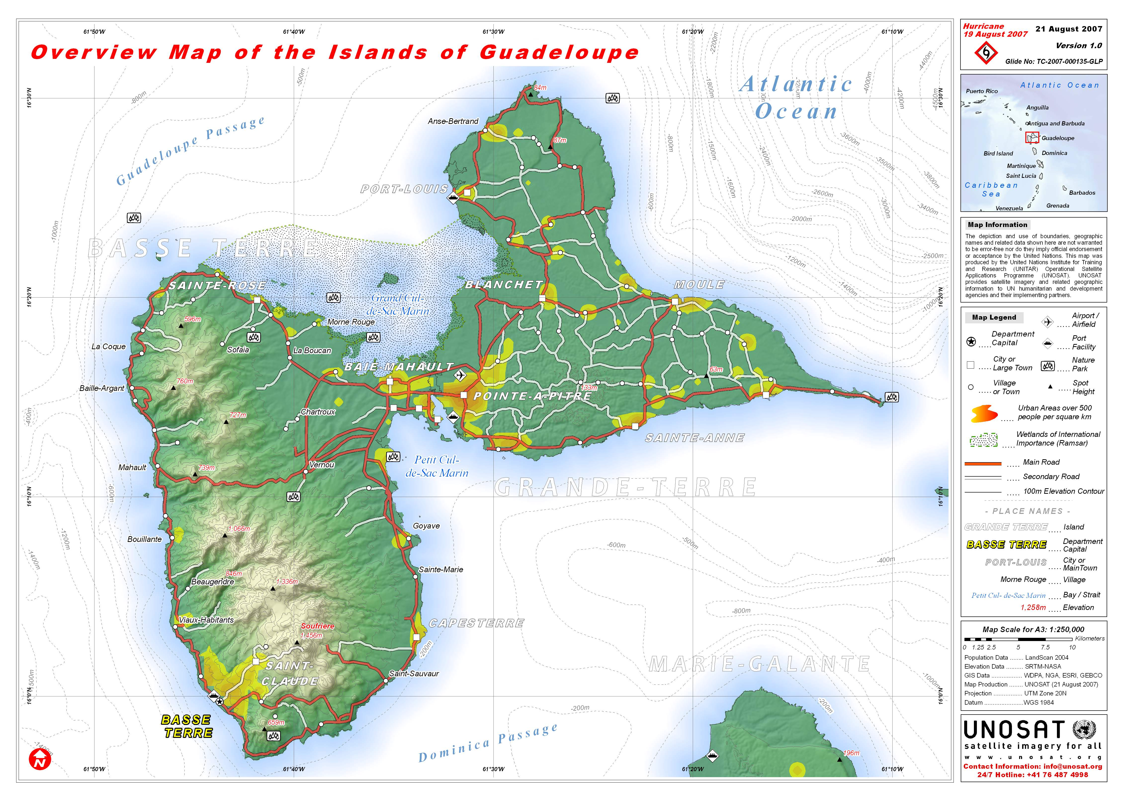 Guadeloupe overview map see map details from unosat web cern ch