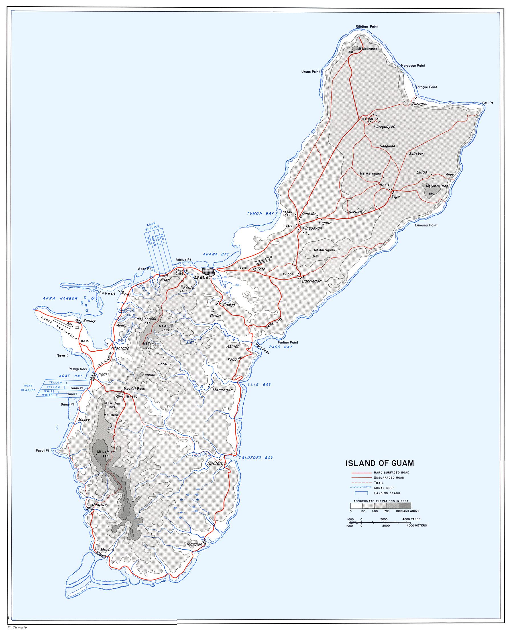 Guam WWII Map Guam Mappery - Guam map