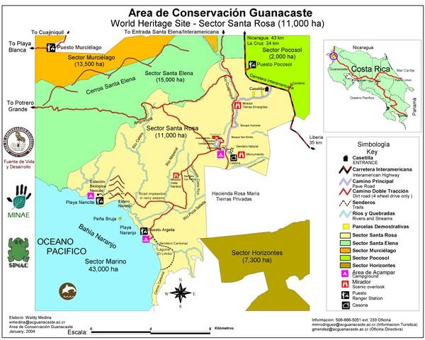 Guanacaste Conservation Area Tourist Map - Guanacaste Costa Rica ...