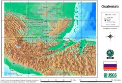 Guatemala Cities and Town Topo Map
