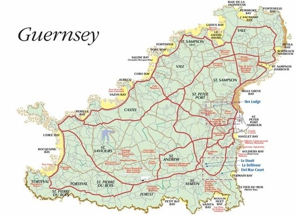 Guernsey road Map  mappery