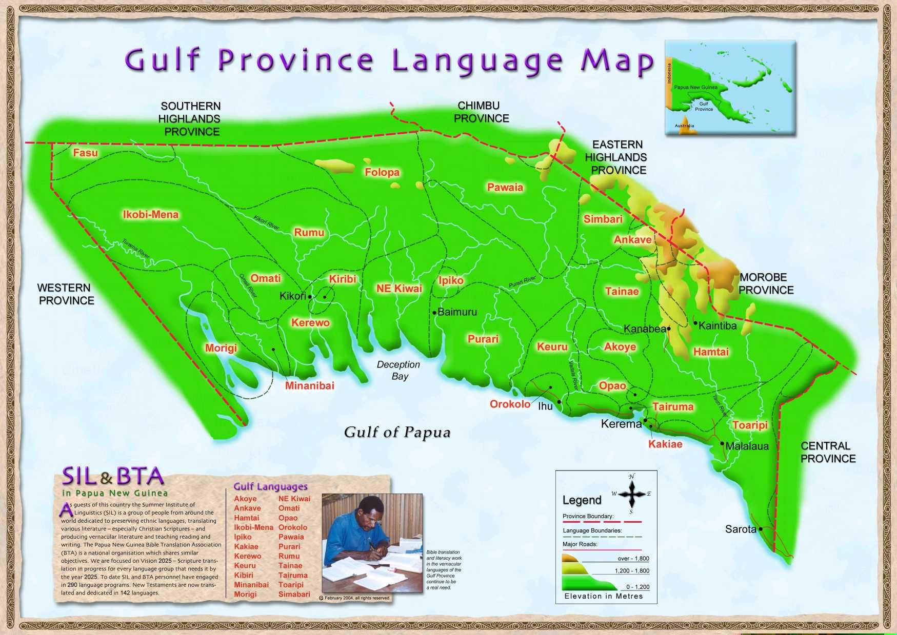 Gulf Province language Map - Papua New Guinea • mappery