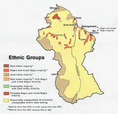 Guyana - Ethnic Groups, 1973 Map