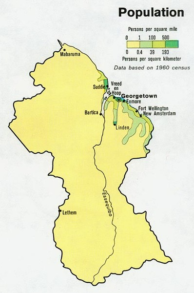 Guyana - Population 1973 Map
