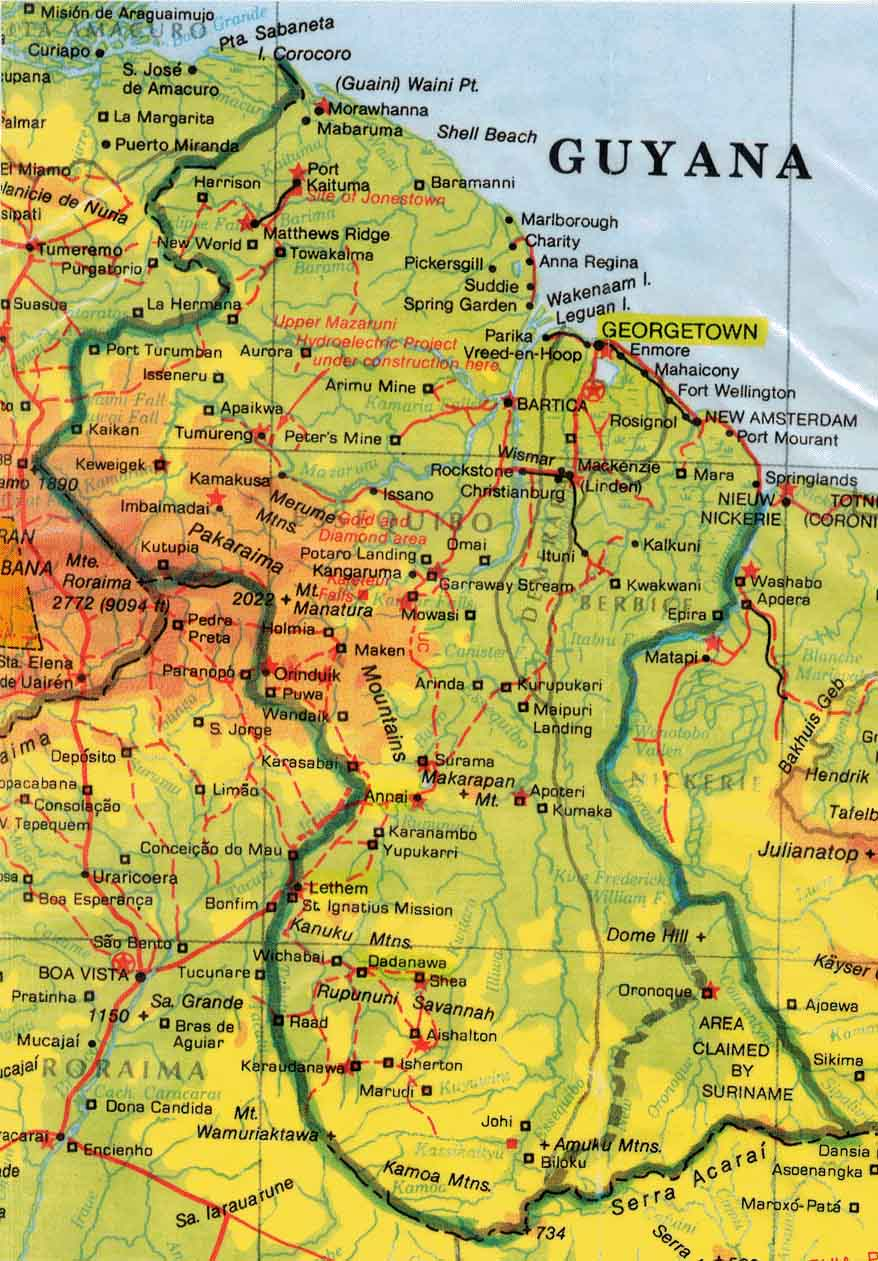 Guyana Topographic Map Guyana mappery