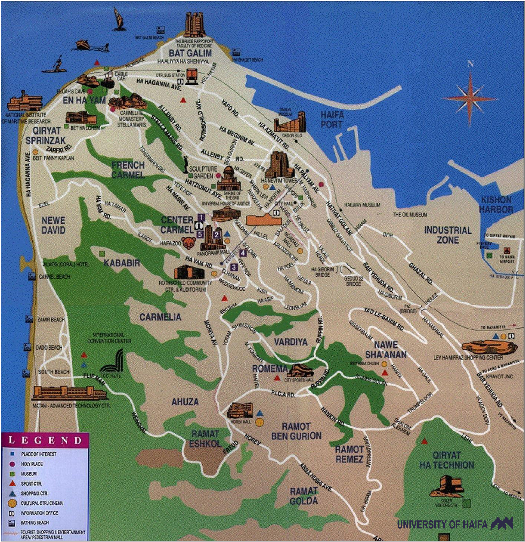 Haifa Tourist Map Haifa Israel mappery