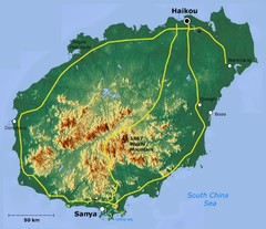 Hainan Island Tographic Map