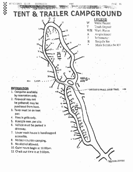 Hanging Rock, campground site map