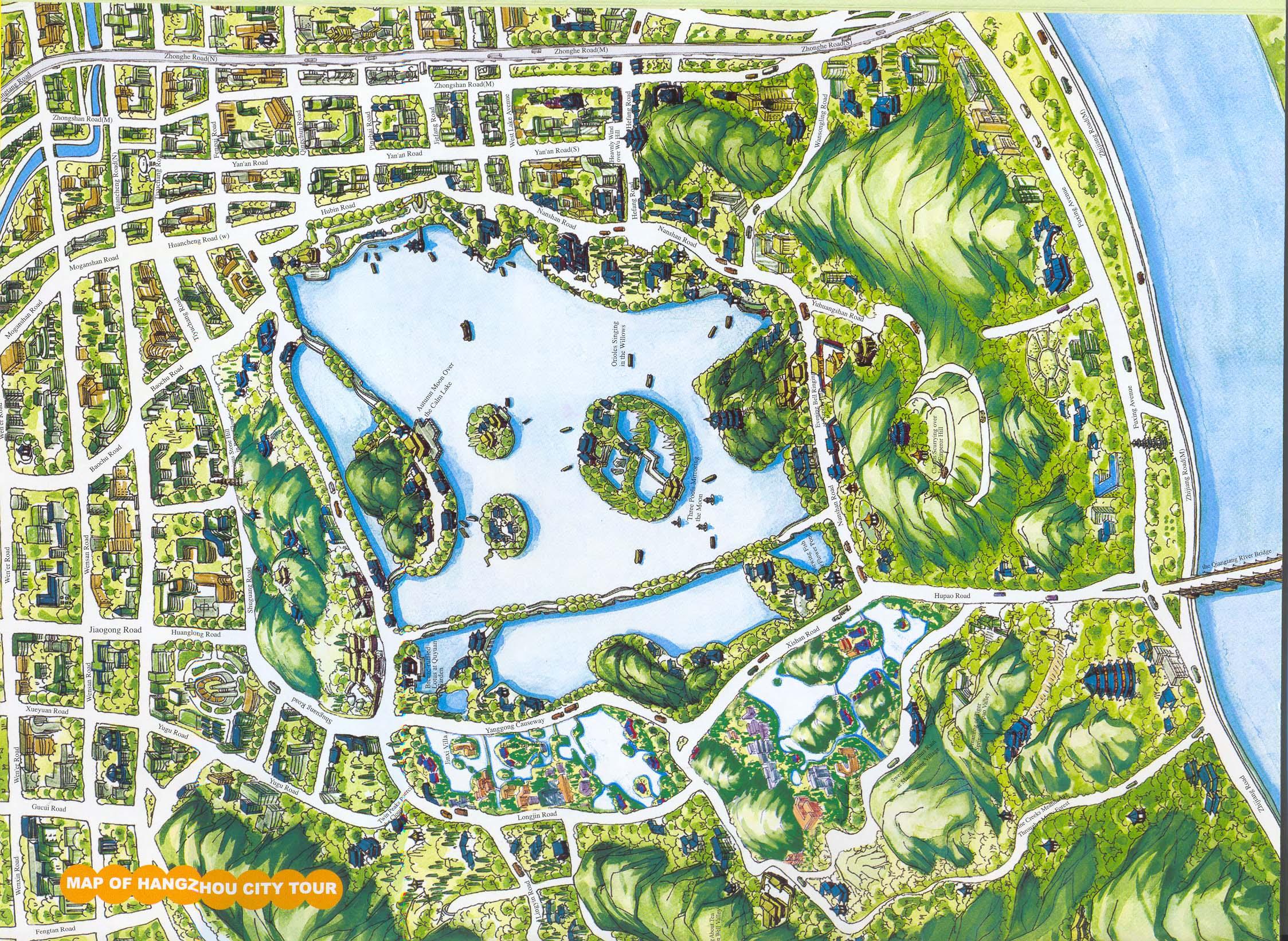 Hangzhou City Tour Map hangzhou mappery