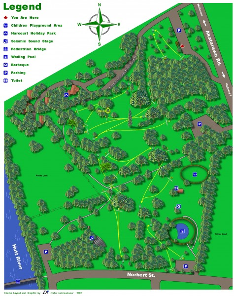 Harcourt Park Disc Golf Course Map