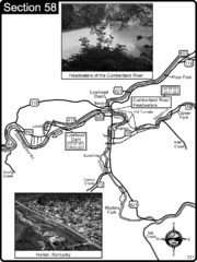 Harlan, KY-Cumberland River Headwaters Map